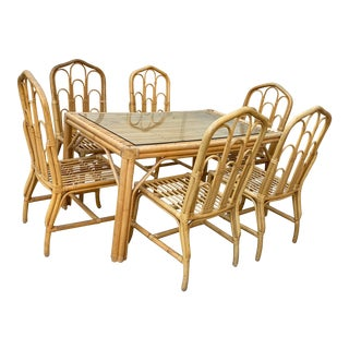 1970s Boho Chic Bamboo Dining Set of Six Chairs For Sale