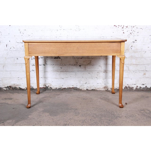 Baker Furniture Queen Anne Burl Wood Writing Desk For Sale - Image 11 of 13