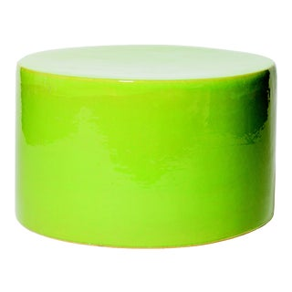 Baby Caroness Handmade Glazed Ceramic Outdoor Accent Table, Bright Green For Sale