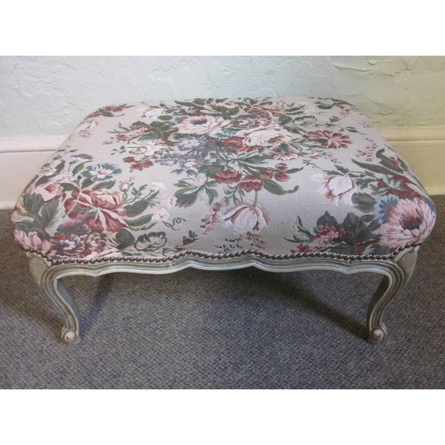 Stoneleigh Ltd. Louis XV Fauteuil Chair & Ottoman For Sale - Image 7 of 10