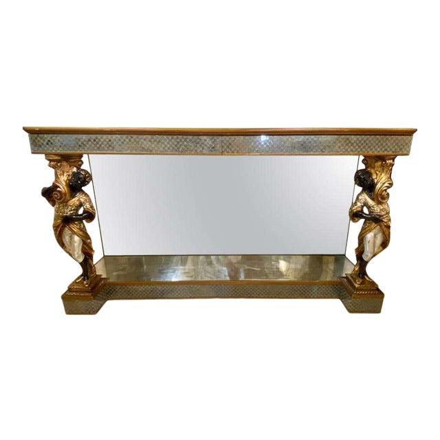 Hollywood Regency Jansen Figural & Églomisé Console Table, Sofa/Sideboard Table For Sale