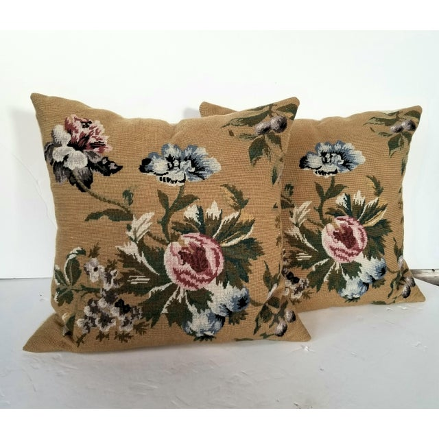 Vintage Needlepoint Floral Pillows - a Pair For Sale - Image 11 of 11