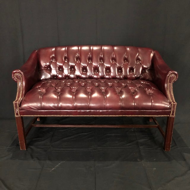 British Chesterfield Burgundy Leather Bench Loveseat For Sale - Image 10 of 10