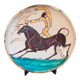 Bullfighter and Bull' by William Hunt Diederich (1884-1953 USA) Ceramic Plate Circa 1920s For Sale