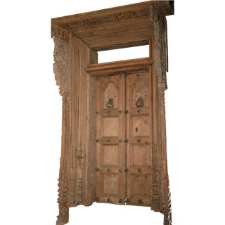 19th Century Antique Indian Teak Portal Door For Sale
