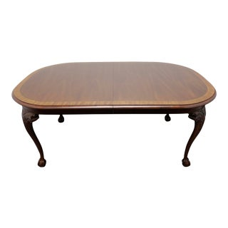 Hickory Chair Chippendale Ball in Claw Banded Mahogany Dining Table For Sale