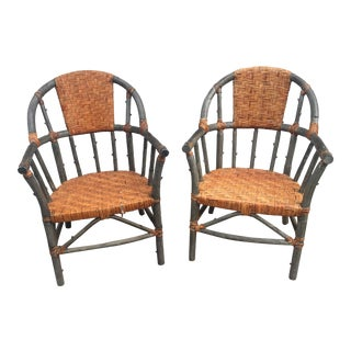 Vintage Rattan Palacek Chairs - a Pair For Sale