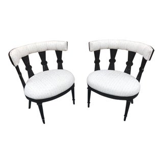 1960s Vintage Carved Reed and Wood Black Lacquer Regency Chairs- a Pair For Sale