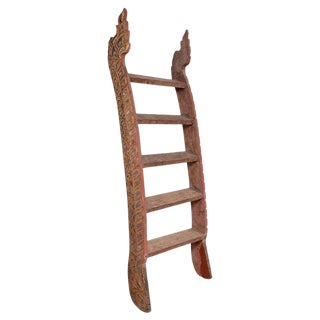 Indonesian Antique Painted Wood Ladder with Inlay For Sale