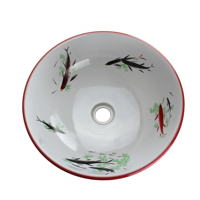 Asian Pasargad DC Modern Red & White Motif Sink Bowl For Sale - Image 3 of 6