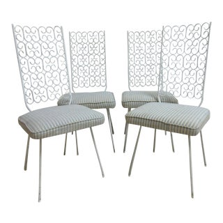 Mid-Century Wrought Iron Outdoor Dining Chairs - Set of 4