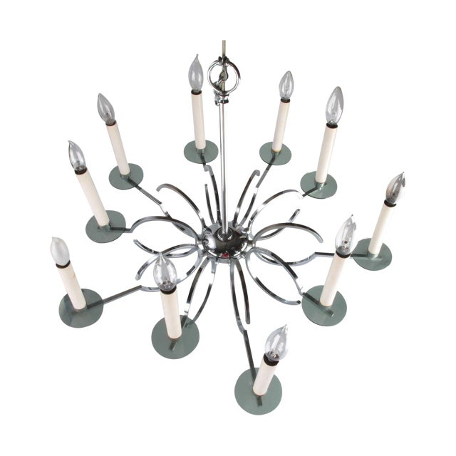 Vintage Chrome and Lucite Chandelier For Sale