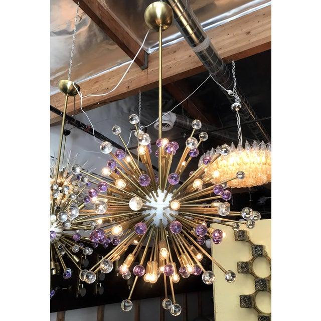 Brass Clear and Purple Burst Sputnik by Fabio Ltd. For Sale - Image 7 of 10