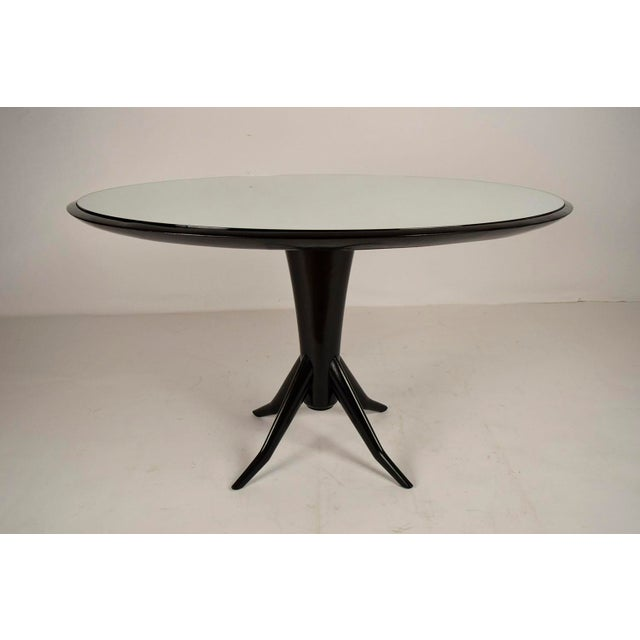 Modern Vintage Laquered Round Mirrored Top Dining Table For Sale - Image 3 of 9