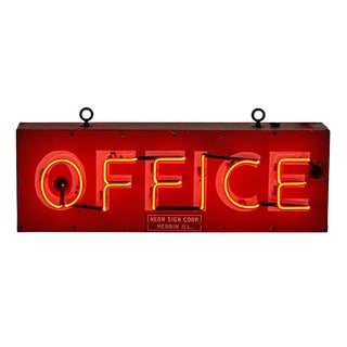 Neon Office Sign by Neon Sign Corp Circa 1960s