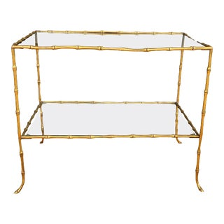 Faux Bamboo Brass Two-Tier Table Attributed to Maison Bagues For Sale