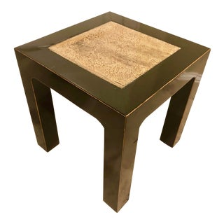 1980s Chinese Ming Black Lacquer Elm Side Table With Stone Inlay For Sale