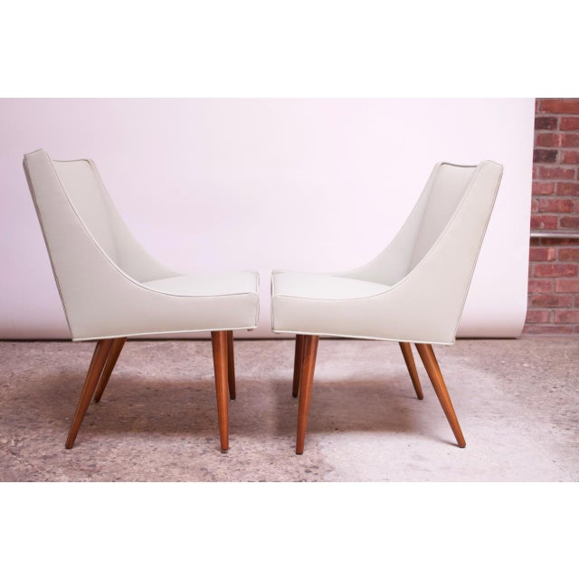 Milo Baughman for Thayer Coggin Vintage Walnut and Leather Slipper Chairs by Milo Baughman - a Pair For Sale - Image 4 of 13