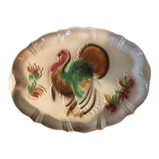 1950's Turkey Platter Hand Painted by Lane For Sale