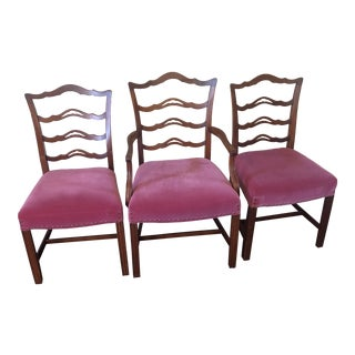 Vintage Mahogany Chippendale Chairs - Set of 3 For Sale