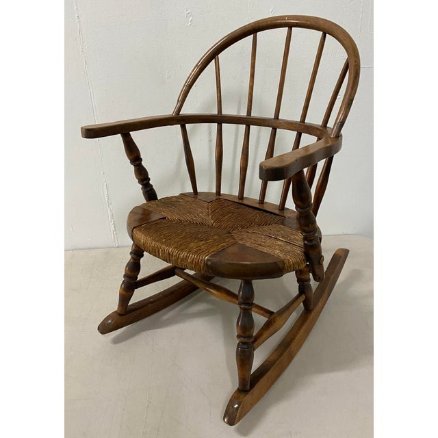 American Late 19th Century Childs Windsor Rocking Chair For Sale - Image 3 of 10