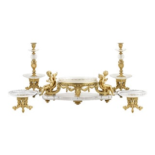 French Ormolu and Cut Glass Table Garniture For Sale