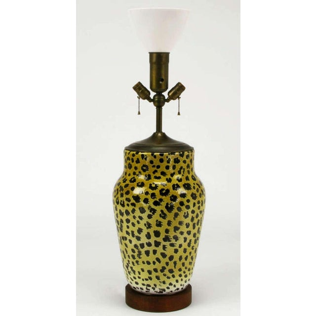 Contemporary Large Italian Ceramic Leopard Glazed Table Lamp For Sale - Image 3 of 5