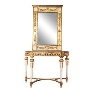 Neoclassical Italian Parcel-Gilt and Mirror Over Console Table For Sale