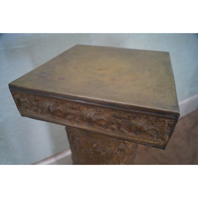 19th Century Brass Relief Neo Classical Pedestal - Image 3 of 10