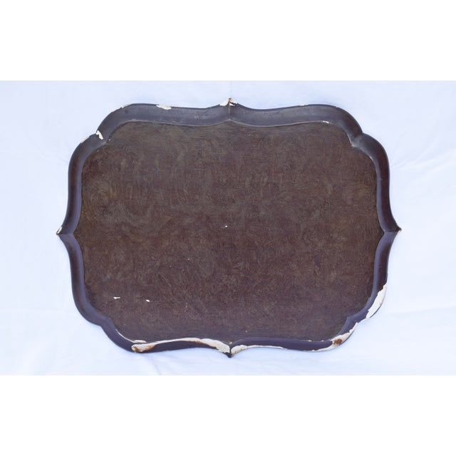 Wood Florentine Gilt Tole Fruits Motif Tray For Sale - Image 7 of 8