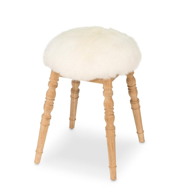 Sarreid LTD White Winoma Stool - Image 4 of 7
