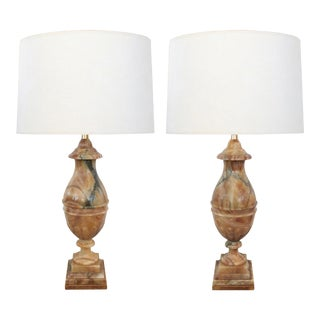 1950's Large Italian Baluster-Form Carved Onyx Lamps - a Pair For Sale