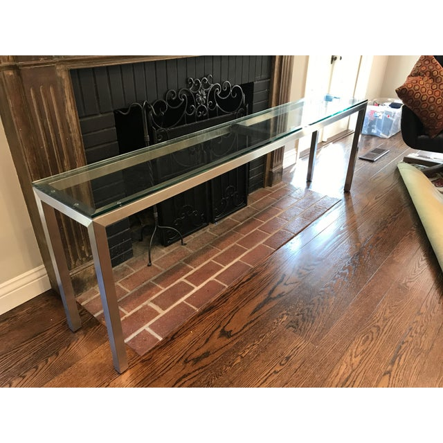 Room and Board Steel Glass Top Portico Console Table - Image 4 of 4