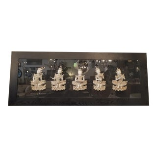 Asian Musicians Sculpture in Large Shadow Box For Sale