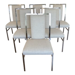 1960s Vintage Milo Baughman Style Dining Chairs- Set of 6 For Sale
