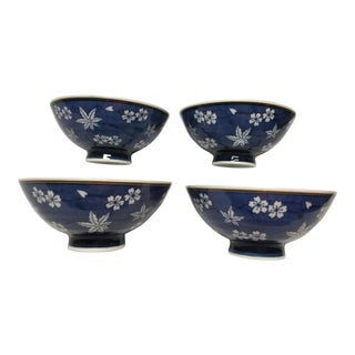Mid 20th Century Signed Asian Footed Bowls - Set of 4 For Sale