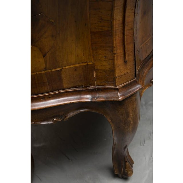 Mid 19th Century 19th Century Pair of Italian Rococo Style Walnut Commodes For Sale - Image 5 of 10