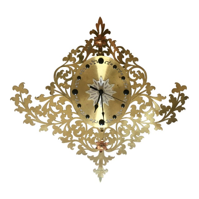 Large Filigree Mid Century Wall Clock For Sale