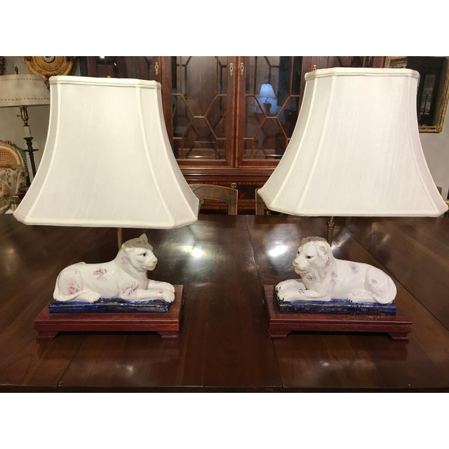 Ceramic Lion and Tiger Lamps - A Pair - Image 2 of 8