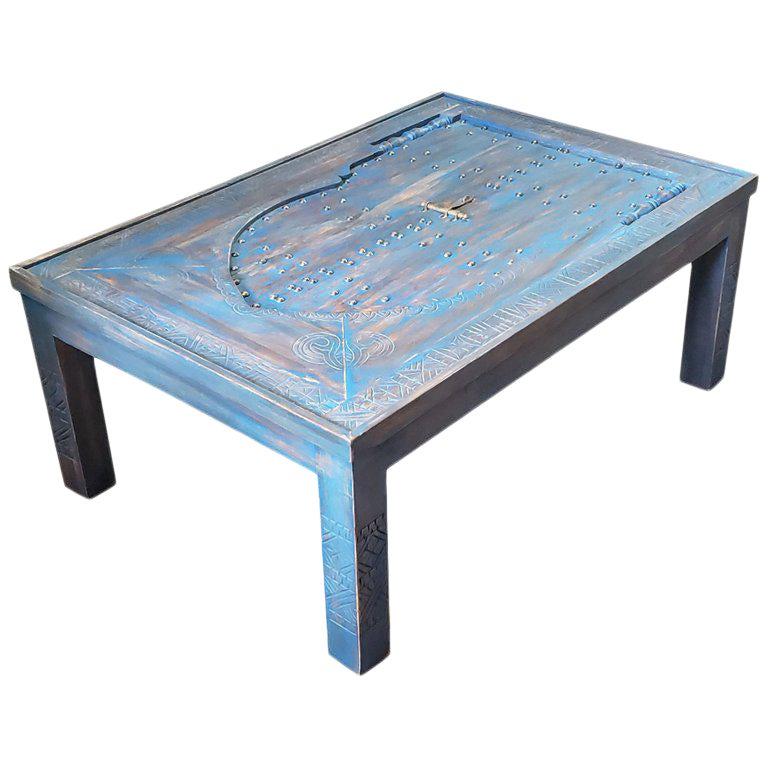 Moroccan Wooden Coffee Table Blue Wash 1 Chairish