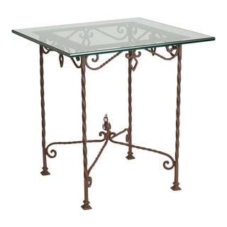 Wrought Garden Table W/ Tempered Glass Top Circa 1870s
