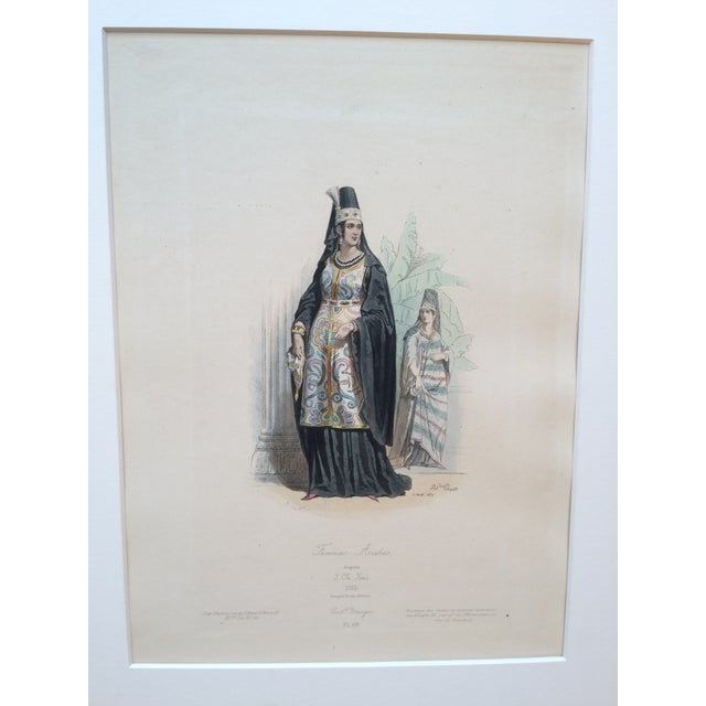 """19th Century Century Antique French Original Engraving Historic Fashion Plate, Hand-Tinted - """"Femmes Arabes."""" For Sale - Image 10 of 11"""
