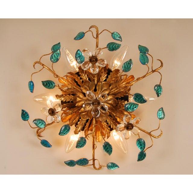 Gold 1970s Mid-Century Italian Murano Glass Sunburst Sconces, Venice - a Pair For Sale - Image 8 of 11