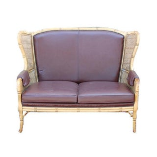 French Chippendale Faux Bamboo Brown Leather Wingback Settee For Sale