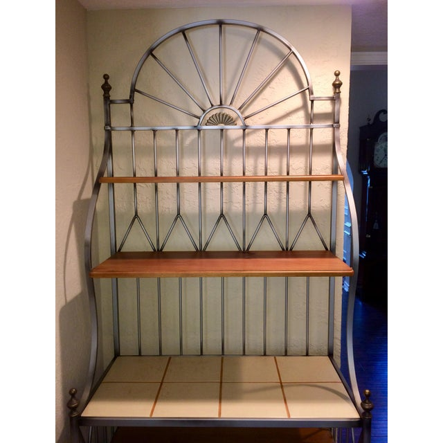 Country Drexel Solstice Iron Frame Bakers Rack For Sale - Image 3 of 6