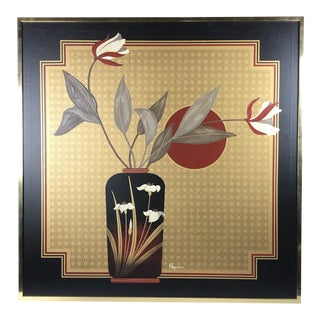Large Vintage Modern Wall Art- Black and Gold For Sale