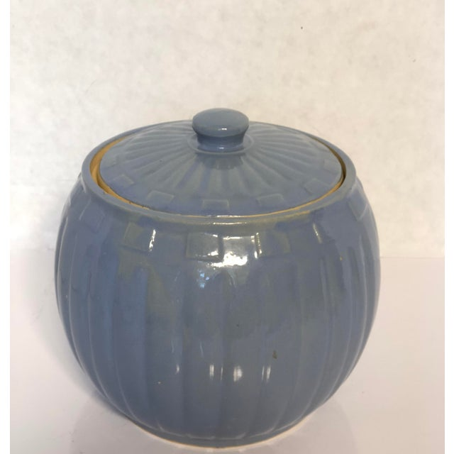 1930s Vintage Watt Pottery Blue Squares Covered Casserole Dish For Sale - Image 4 of 6