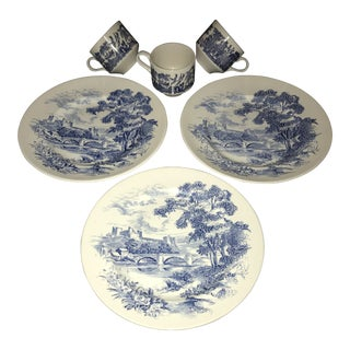 Rare Vintage Wedgewood Blue and White China Dinnerware - 6 Pc. Set
