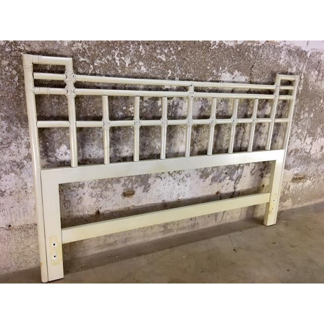 A vintage Ficks Reed rattan queen headboard in original finish. Circa 1970's. Goes with our vintage Ficks Reed Dressers...