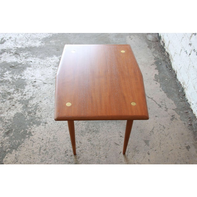 Wood Swedish Modern Teak and Brass Side Table by Dux For Sale - Image 7 of 10